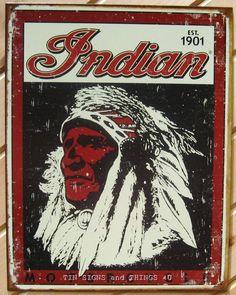 Indian Motorcycles CHIEF 1901 TIN SIGN Logo Garage vtg metal wall decor ad 1270