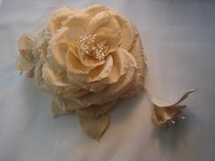 Vintage Rose with bud and leaves with smaller bud corsage - all made from Dupion silk and fashioned by our flower petal irons - soon to be available from www.mrsmacsemporium.co.uk