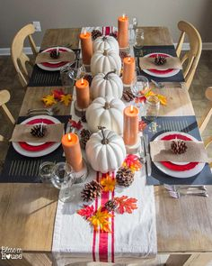 Dollar Store Fall Decor Ideas Anyone Can Make, Fall Table Settings, Thanksgiving Decorations and Pumpkin Makeovers to Decorate your Home for Fall Thanksgiving Table Settings, Thanksgiving Parties, Thanksgiving Tablescapes, Thanksgiving Decorations, Holiday Decorations, Seasonal Decor, Holiday Tablescape, Thanksgiving Celebration, Family Thanksgiving