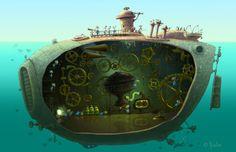 Old Submarine Illustration