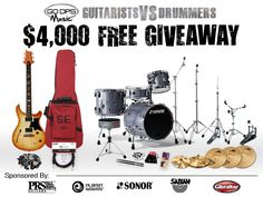 Enter our 4,000 Music Gear Giveaway at our Facebook page, click on giveaway tab.  #Giveaway #guitars #music
