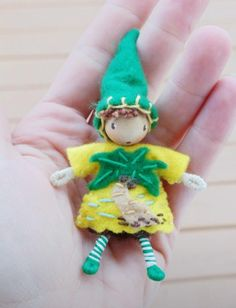 Tropical palm tree gnome a waldorf inspired bendy doll http://www.etsy.com/shop/ACuriousTwirl  By: A Curious Twirl