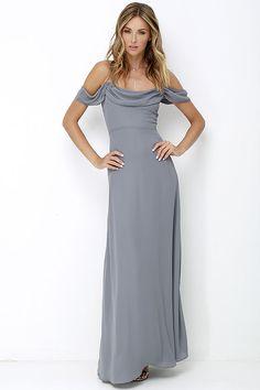 Reflective Radiance Dark Grey Maxi Dress at Lulus.com! - Possible bridesmaids dress?