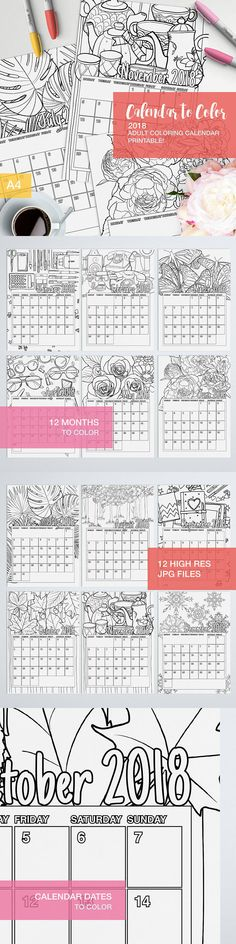 If you want to make your own calendar for 2018 Try this calendar to color!  12 months of coloring pages in this printable calendar to color yourself and have fun!  #adultcoloring #coloringbooks #printables