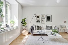 oversized plank light oak flooring, no window treatments, has urban garden feel to it, collage of black white prints, simple grey color scheme of pillows, ghost style coffee table, simple texture rug, greenery for color and texture.