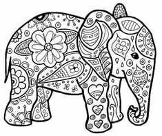 Adult Coloring Page Elephant New Pin by Rachel Demott Harper On Crazy for Coloring Sheets Elephant Coloring Page, Animal Coloring Pages, Coloring Book Pages, Printable Coloring Pages, Coloring Sheets, Mandala Coloring Pages, Coloring Pages For Kids, Kids Coloring, Mandala Art