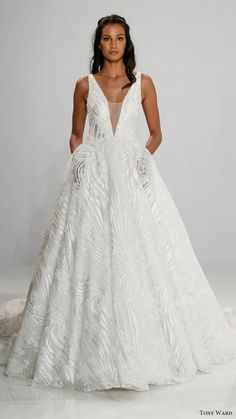 TONY WARD bridal 2017 sleeveless deep vneck ball gown wedding dress (maeve) mv #pockets #bridal #wedding #weddingdress #weddinggown #bridalgown #dreamgown #dreamdress #engaged #inspiration #bridalinspiration #weddinginspiration #weddingdresses