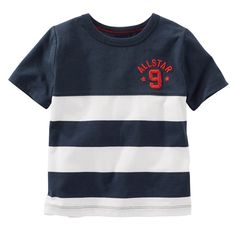 Boys 4-8 OshKosh B'gosh® Short Sleeve Embroidered Chest Striped Tee, Size: 7X, Blue (Navy)