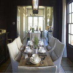 Rustic Chic Dining Room- I love dark walls in the dining and living area soooo chic
