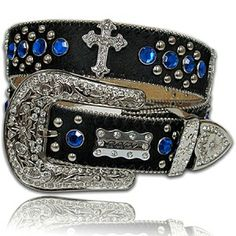 Cowboy Cross Blue Rhinestone Black Cowhide Western Belt M