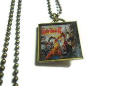 Castlevania IV box art pendant on brass ball by ReturnersHideout, $16.00