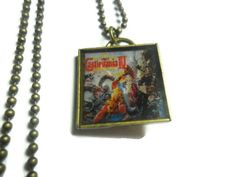 Castlevania IV box art pendant on brass ball by ReturnersHideout, $16.00