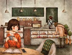 """culturenlifestyle: """"Artist Captures Life's Little Moments Through Tender Illustrations Korean artist Aeppol captures the tender and ethereal moments in everyday life through stunning and heart-warming illustrations. To provide his admirers with. Art And Illustration, Forest Girl, Korean Artist, Anime Art Girl, Cute Cartoon, Cute Art, Watercolor Art, Art Drawings, Character Design"""