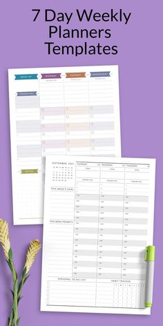 This collection of 7 Day Weekly Planners Printable Templates can increase your chances of staying productive all day every day. The design is useful and plain with no-frills. It's no-nonsense approach, functional design and roomy pages provide everything you need to stay organized and inspired. Timetable Planner, Weekly Hourly Planner, Weekly Planner Template, Printable Planner, Printable Templates, At A Glance Planner, Time Planner, Daily Schedule Template, Diary Template