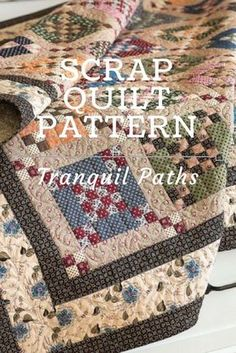 """Here's a scrap quilt pattern worth your time! Made up in muted prints, Krisanne Watkins' quilt design proves you don't need bright colors for a """"wow"""" effect. The easy quilt block is nothing more than a surrounded by large rectangles and matching 4 Old Quilts, Antique Quilts, Scrappy Quilts, Small Quilts, Easy Quilts, Mini Quilts, Vintage Quilts, Quilt Design, Quilting Designs"""
