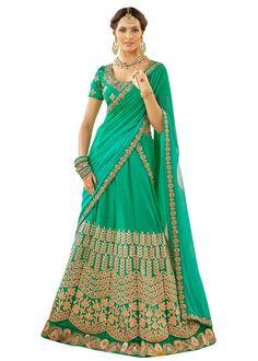Celebrity Style Green wedding wear Heavy embroidered Art Silk lengha choli