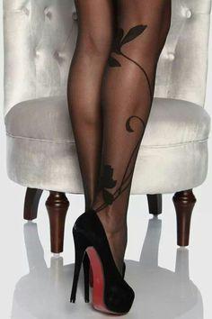 Black red bottoms with designer hose #christianlouboutinheels