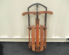 vintage sled Western Clipper wooden metal runners home
