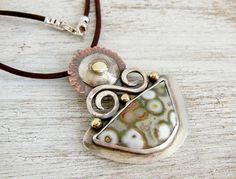 Ocean Jasper Pendant, Sterling Silver Gemstone Necklace, Artisan Jewelry, Mixed Metal Pendant on Etsy, $279.00