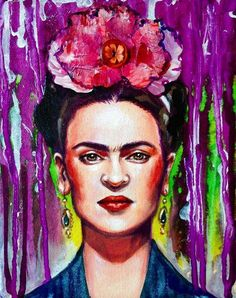 Frida Mixed Media Portait Painting 8 x 10 by LaurenRudolphArt Fridah Kahlo, Frida Paintings, Frida Kahlo Portraits, Frida Art, Mexico Art, Up Girl, Portrait Art, Art Pictures, Painting Inspiration
