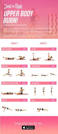 Need a great upper body workout to do at home? Try Kayla Itsines' Upper Body Burn! It's a great 28 minute workout that will leave you feeling strong and healthy. Full Body Workouts, Fitness Workouts, Yoga Fitness, Bbg Workouts, Fitness Motivation, Sport Fitness, At Home Workouts, Health Fitness, Kayla Fitness