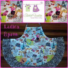 Handmade by Deborah for The Sherbet Fountain  Oh La La - Ladies full apron
