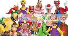 Super Mario Bros Halloween Costumes: Mario Raccoon, Donkey Kong, Wario, Yoshi, Toad, Bowser, Princess Peach