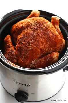 """Slow Cooker """"Rotisserie"""" Chicken -- all you need are 5 minutes to prep this recipe! 