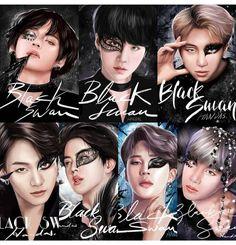 Black swan series by Handas, Bts Group Picture, Bts Group Photos, Taehyung Fanart, Bts Taehyung, Namjin, Taekook, Bts Bulletproof, Bts Girl, Bts Drawings