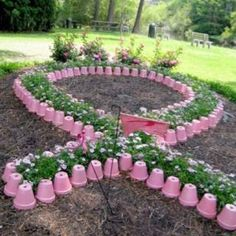 pink pots for Breast Cancer Ribbon Breast Cancer Support, Breast Cancer Survivor, Breast Cancer Awareness, Breast Cancer Wreath, Garden Art, Pink Garden, Outdoor Gardens, The Cure, Compost
