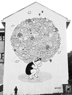 Street-art : l'oeuvre gigantesque de Millo - Le street-art magnifié par les…