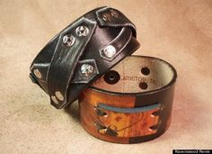 Recycled leather cuffs by John Davis