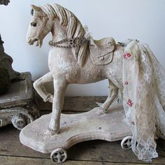 Hand painted wooden horse statue rustic farmhouse fancy tattered tail rhinestone embellished ornate figure home decor anita spero design