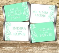 Mini Candy Bar Wrer Wedding Mint Personalized Hershey