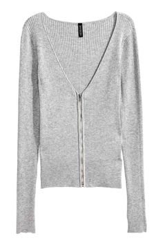 Cardigan with a zip: Cardigan in a soft, rib knit with a V-neck, zip down the…
