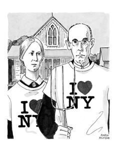 Grant Woods' 'American Gothic' couple dressed in I Love NY t-shirts.      Published in The New Yorker October 15, 2001
