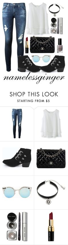 """""""SM 4"""" by namelessginger ❤ liked on Polyvore featuring AG Adriano Goldschmied, Chicwish, Boohoo, Chanel, Quay, Ticoo and Bobbi Brown Cosmetics"""