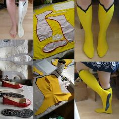 Cosplay Costume This is how I made my Spider woman boots! First I had my foot taped, then cut it into pattern pieces - kythanacosplay Cosplay Boots, Cosplay Diy, Halloween Cosplay, Cosplay Armor, Cheap Cosplay, Fantasias Halloween, Costume Tutorial, Diy Tutorial, Halloween Disfraces