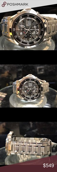 Seiko premier chronograph men's watch.(15357) This is brand new seiko premier chronograph men's watch. Stainless steel. Watch have perpetual calendar. Day and date.   alarm. Second subdial. Seiko Accessories Watches