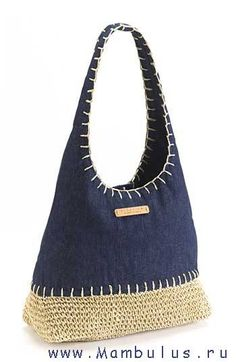 Idea - I think I will reverse this idea... Bag with denim bottom and crocheted top! <3
