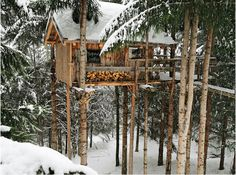 A treehouse in the snow? Can't beat that ...
