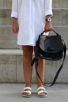 Shirt dress from H&M Handbag from Acne studios Sandals from Birkenstock Watch from Armani Fashion. Perfect outfit for summer H&m Handbags, Acne Studios, My Outfit, Saddle Bags, Birkenstock, Chloe, Summer Outfits, Shirt Dress, Watch