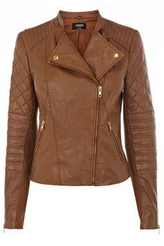 Collarless Leather Biker Jacket.