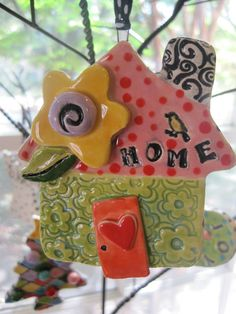 Whimsical Happy House Ceramic Ornament $16 @ http://www.etsy.com/listing/84058244/whimsical-happy-house-ceramic-ornament