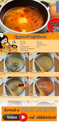 Egyszerű tojásleves Veggie Recipes, My Recipes, Soup Recipes, Cooking Recipes, Favorite Recipes, Recipies, Do It Yourself Food, Healthy Snacks, Healthy Recipes
