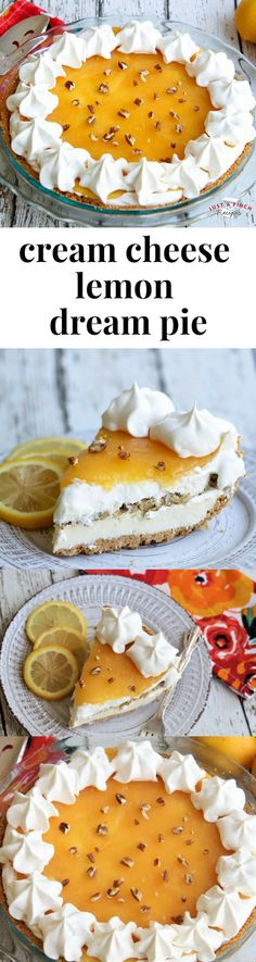 Make a tangy, creamy, and crunchy with a tart lemony flavor, your family and friends will be coming back for seconds. Spring Desserts, Fall Dessert Recipes, Lemon Desserts, No Bake Desserts, Easy Desserts, Delicious Desserts, Recipes Dinner, Summer Recipes, Dream Pie Recipe
