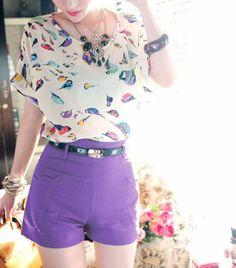 Fashion summer Women Bird Graphic Print Batwing Sleeves Chiffon T-Shirts top best wholesale US $5.95