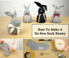 How To Make A No Sew Sock Bunny          If you are a bit lost with craft ideas thisEaster then you have to try and make ano sew sock bunny. Why not turn a sock into a