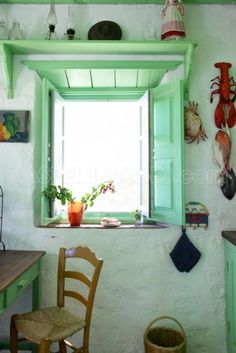 kitchen inspiration - minty green windows and shutters, from greece
