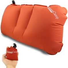 2.4 oz. Ultralight Backpacking / Camping Inflatable Air Pillow - Perfect and Convenient for Carry On Travel, Sport Events, Motorcycle Trips, Trains and Lumbar Support By Instant Camp (Orange). ULTRALIGHT and RELIABLE: At only 2.4 ounces, it is ONE of the LIGHTEST camp and travel pillows on the market so you can take it anywhere in the world. A must pack item for smart travelers!. CONVENIENCE: Folds effortlessly back into its stuff sack to about the size of a deck of cards, making it...